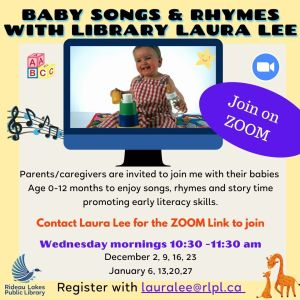 Virtual Baby time contact lauralee@rlpl.ca for more information