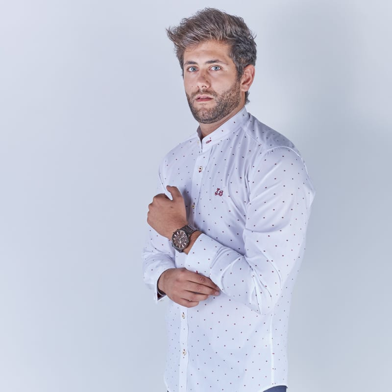 Camisa con estampado geométrico cuello mao