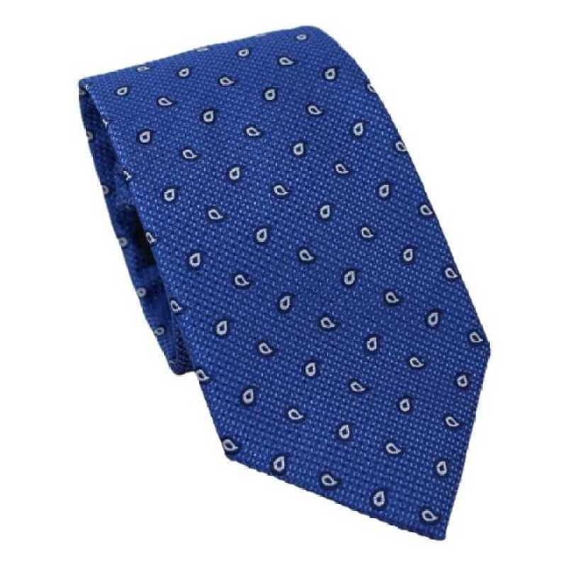 Corbata azul eléctrico estampado Paisley