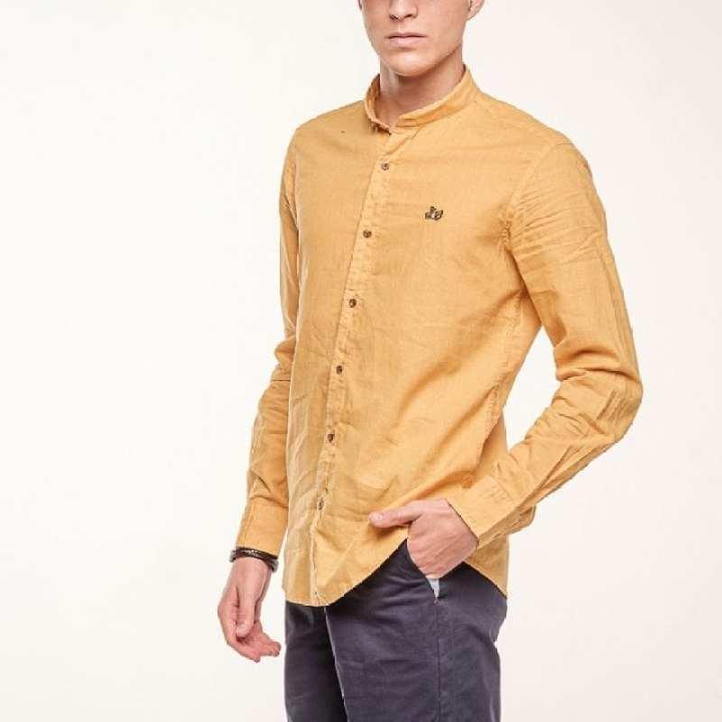 Camisa de lino básica cuello mao