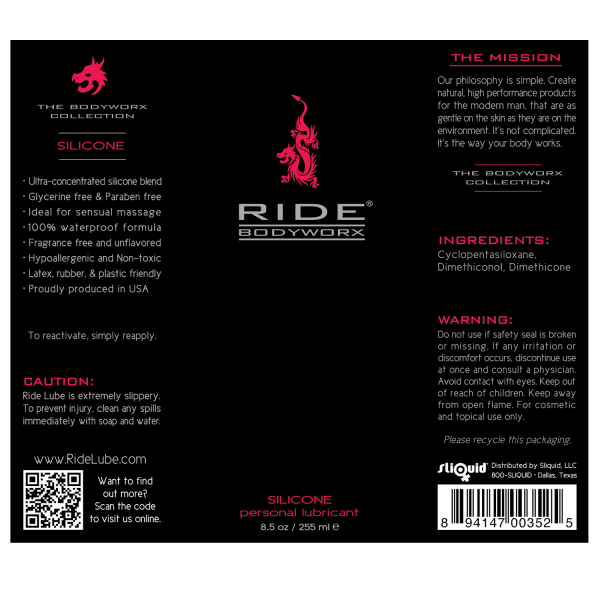 Ride BodyWorx Silicone 8.5oz - Label Graphic