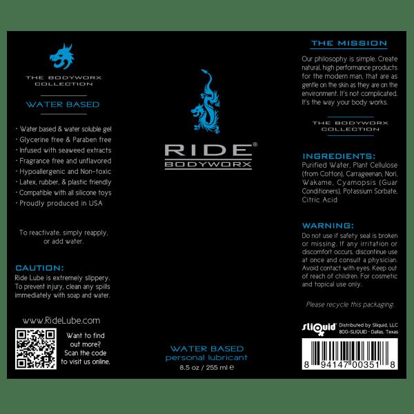 Ride BodyWorx Water Based 8.5oz - Label Graphic