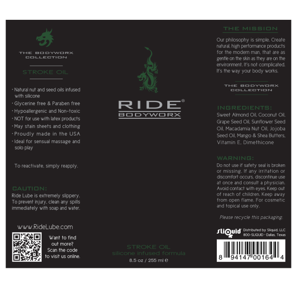 Ride BodyWorx Stroke Oil Label