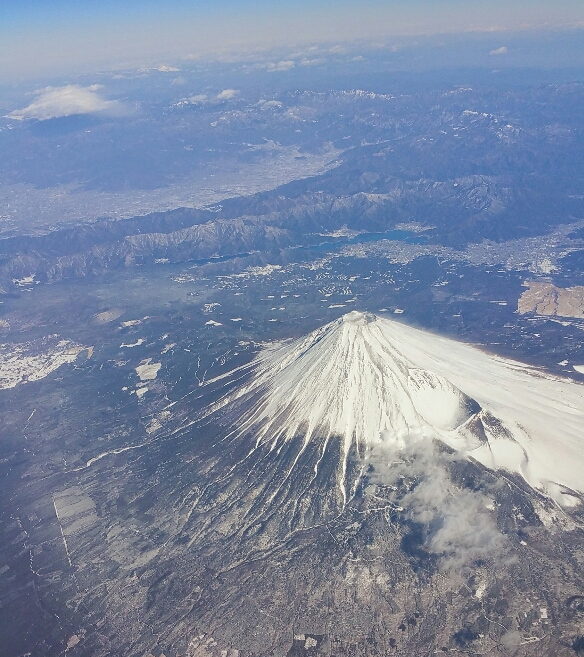 Mt. Fuji from my flight between Tokyo and Osaka