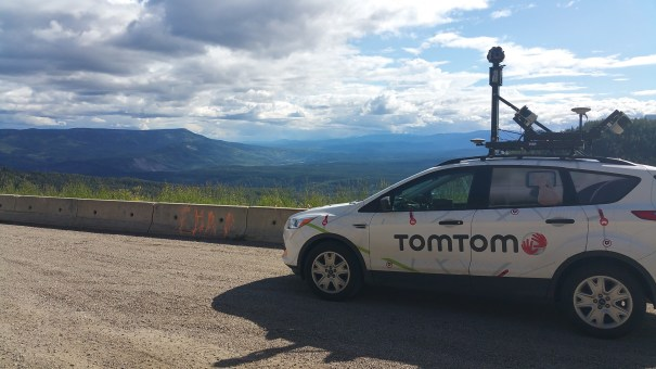 The TomTom Mobile Mapper Car - looking out over the Northern Rockies in British Columbia