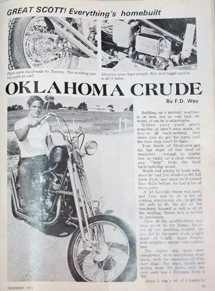 """Tommy Smith was featured in """"Chopper"""" magazine in 1974."""