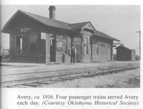 Avery, ca. 1916. Four passenger trains served Avery each day. (Courtesty Oklahoma Historical Society)