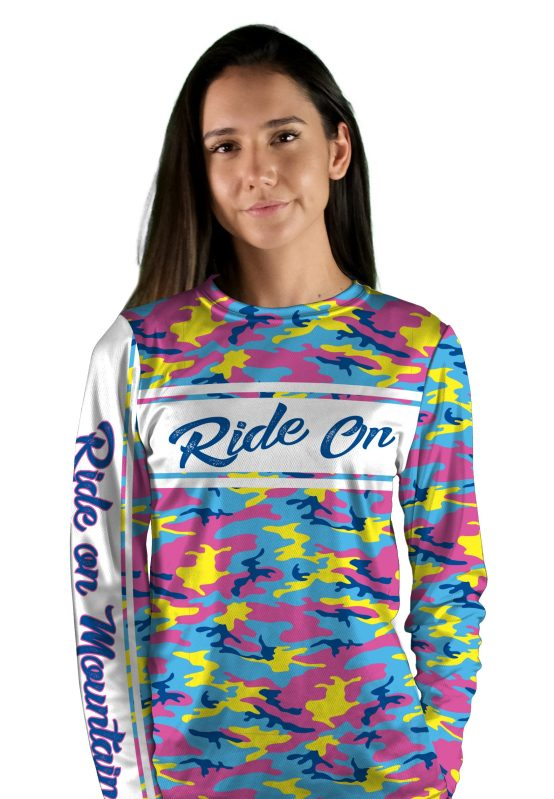 womens long sleeve girl camo mountain bike jersey