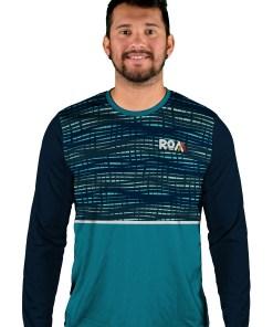 long sleeve binary blue mens mtb jersey
