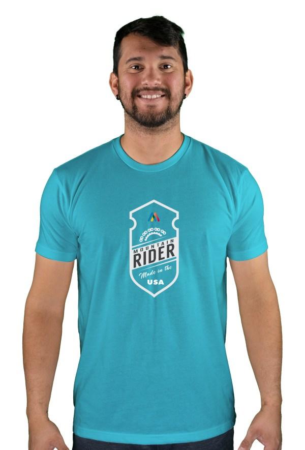 mens mtb mountain rider bondi blue t-shirt