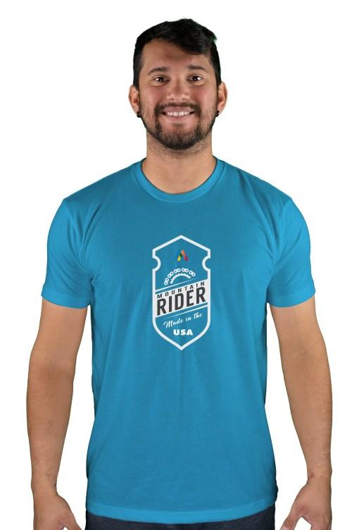 mens mtb mountain rider turquoise t-shirt