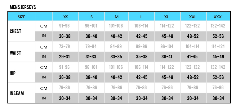 Mens Jerseys size chart-01