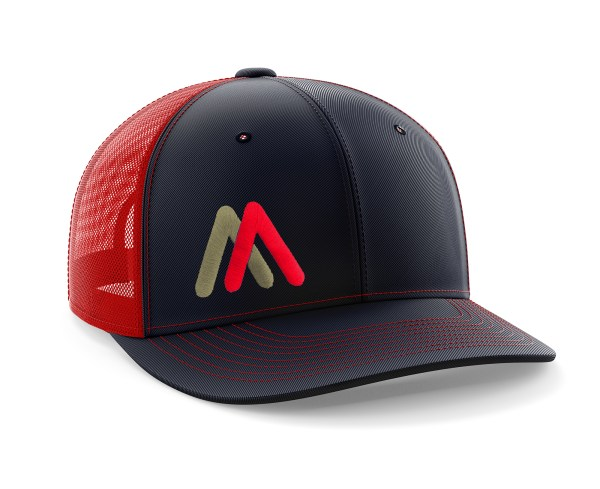Red-Navy EMB Trucker Hat