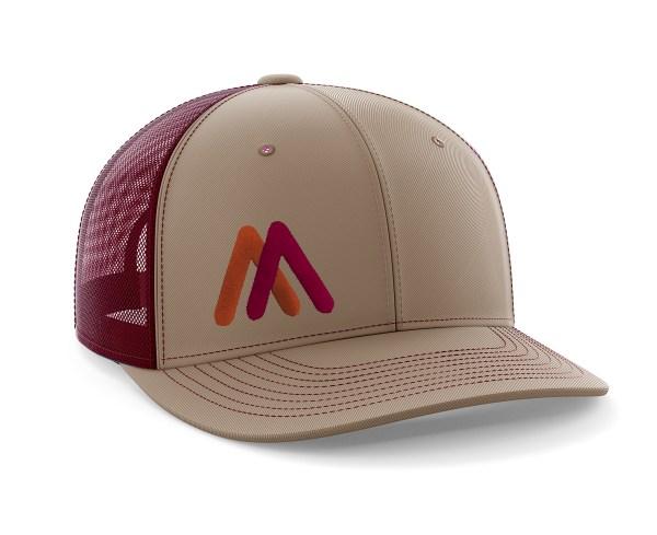 Tan-Maroon EMB Trucker Hat