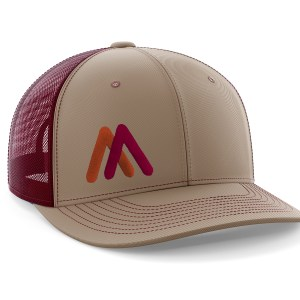 Tan-Maroon EMB Trucker Hat