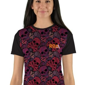womens short sleeve paisley skulls mountain bike jersey