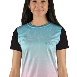 womens short sleeve topo map mountain bike jersey