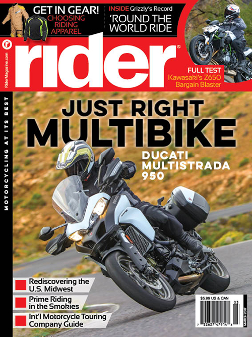 March 2017 edition of Rider magazine.