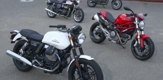 Moto Guzzi V7 Stone, Ducati Monster 696 ABS, Triumph Bonneville, BMW F 700 GS