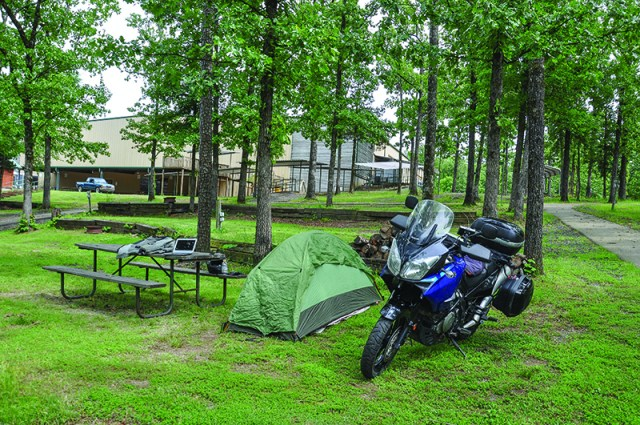 My Iron Mountain campsite. The pavilion in the background also houses showers and bathrooms.