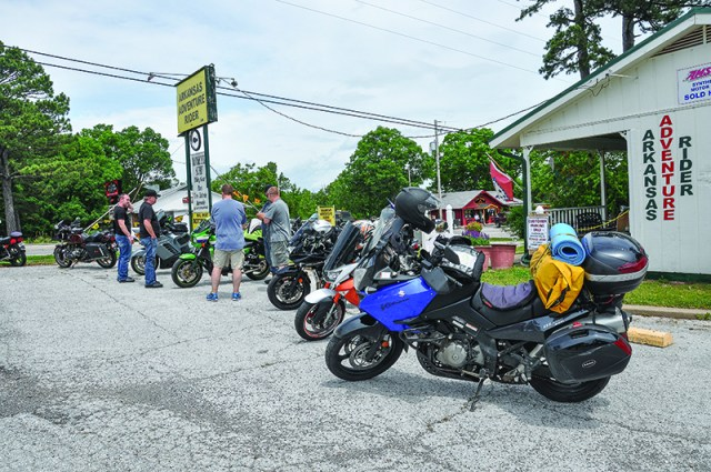 An impromptu Suzuki/Kawasaki convention with an Airhead Beemer thrown in at Arkansas Adventure Rider in Eureka Springs.