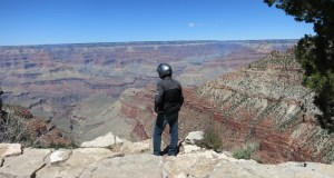 Standing on the South Rim of the Grand Canyon, trying to take it all in.