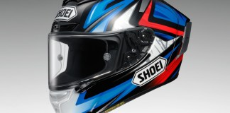 The Shoei X-Fourteen helmet, shown here in the the Bradley 3 TC-1 graphic, has been thoroughly updated.