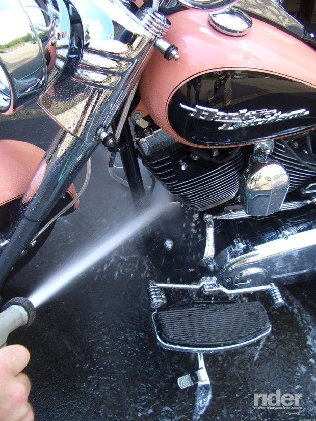 Follow up emulsifying cleaners with a sharp spray of water. Avoid spraying brake calipers, master cylinder reservoirs and exposed power leads.