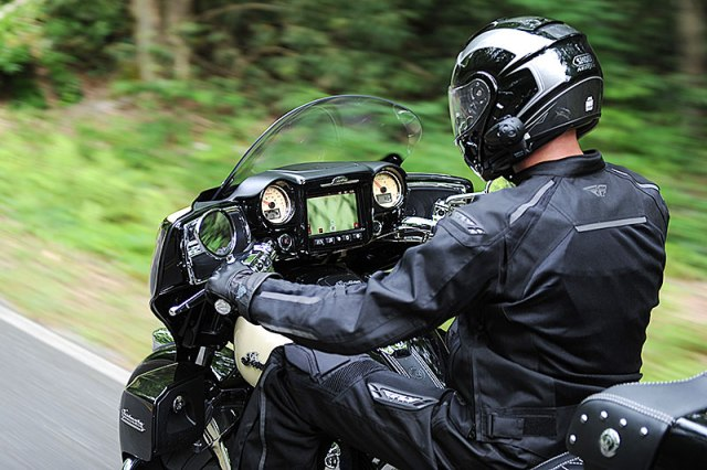 For 2017, Indian's Chieftain bagger and Roadmaster tourer get an integrated infotainment package called the Ride Command System. (Photos by Barry Hathaway)
