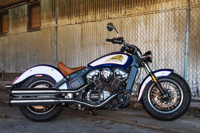 2017 Indian Scout in Brilliant Blue over White and Red