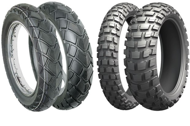 """There are two main types of ADV tires: street-oriented for occasional dirt or gravel roads and high mileage, and """"50/50,"""" typically knobbier for more aggressive riding off-road at the expense of mileage. The Vee Rubber VRM-193 is a bias-ply 80-percent pavement/20-percent dirt and gravel tire offered in many popular sizes. The Michelin Anakee Wild is an example of a """"50/50"""" radial tire, designed to deliver off-road performance with extended on-road mileage."""