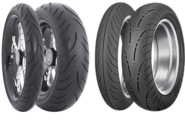 Cruiser and touring tires are designed to deliver high mileage and stability, while being tough enough to handle heavy loads. Some, like the Dunlop Elite 4, come in both bias-ply and radial construction options. The Elite 4's new tread pattern and multi-compound design offer extended mileage and even wear. Power cruiser and custom bike owners may choose a more aggressive performance tire, such as the Avon Cobra. The Cobra incorporates sport tire technology for great handling and stability.