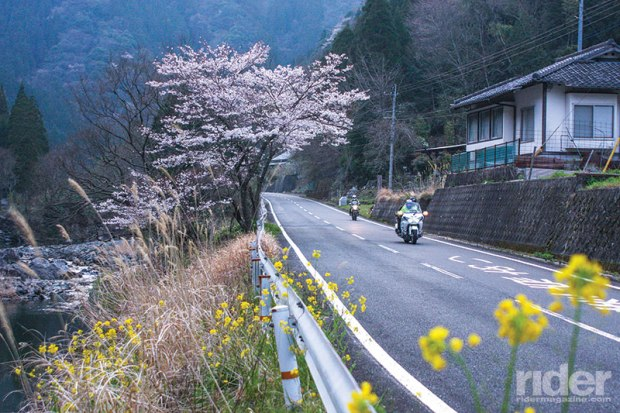 Down the other side of the mountain after tackling the 100 corners of Route 500 on Kyushu.