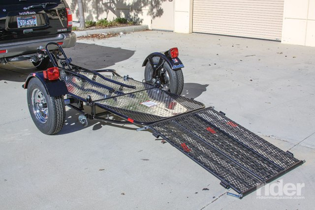 Kendon Stand-Up Motorcycle Trailer. A wide 3-piece ramp allows you to ride a bike on.