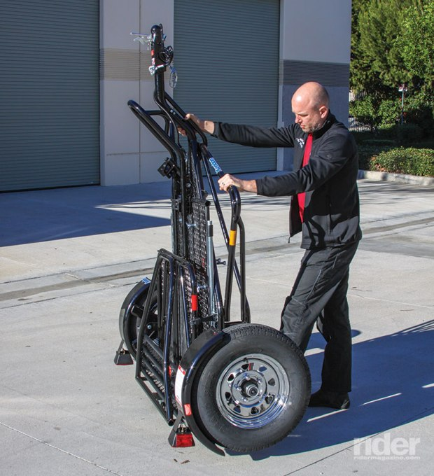 Upright, the trailer has a 27- by 70-inch footprint.