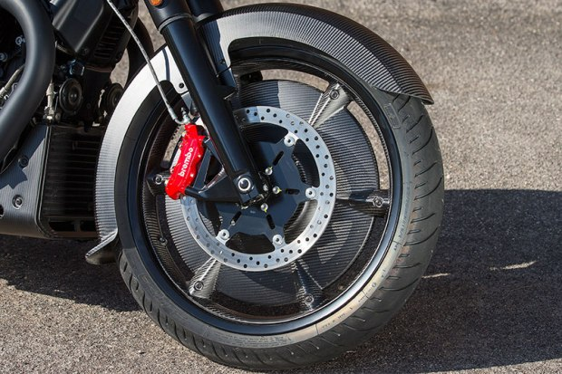 Those bright red Brembos not only look slick, but supply prodigious stopping power with 320mm front discs and radial 4-piston calipers. ABS and multi-mode traction control come standard.