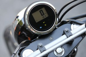 The SCR950's digital meter is taken from the Bolt. It can be hard to read in bright sunlight, and an analog speedo would have been a better choice.