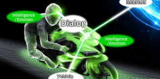 Conceptualization of Kawasaki's artificial intelligence and emotion-equipped motorcycle.