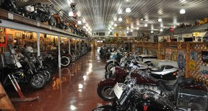 This aisle contains most of the American machines. Harley's and Indians predominate. There are also British and Italian bikes, as well as custom builds.