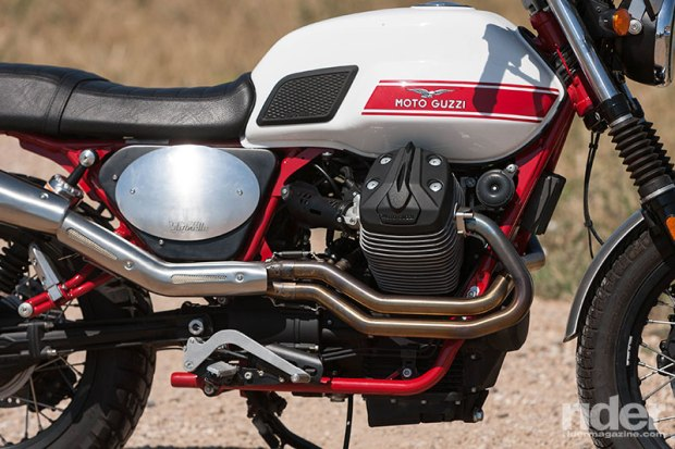 The Stornello is powered by the latest edition of the 750cc Guzzi small block V-twin. A white tank with red stripes, red frame and black engine pays homage to the original 1972 Stornello.