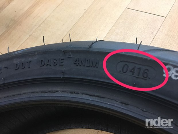 You can find the manufacturing date on your tires here: after the DOT symbol. The numbers correspond to the week and year of manufacture; hence, this tire was made in the fourth week of 2016.