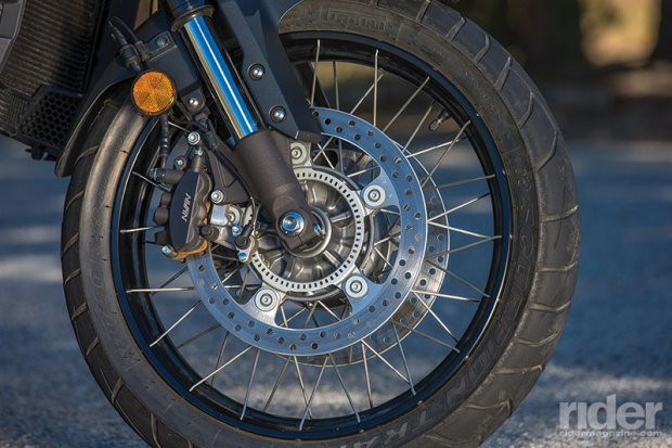 Spoked wheels with tubeless tires and combined ABS are standard equipment.