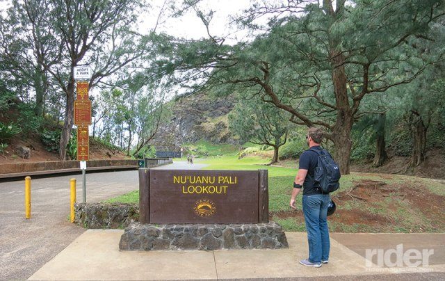 Our first stop on the tour is the Nu'uanu Pali Lookout.