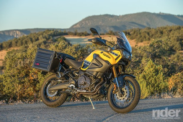 The Super Ténéré requires a mounting kit ($204.95) for the accessory top-loading saddlebags ($488.95 each), which hold just 61 liters total and measure 35 inches across.