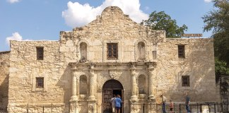 A Texas shrine, the Alamo, remains ever stalwart in downtown San Antonio.