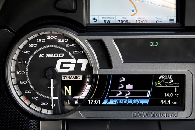 The K 1600 GT's restyled instrument panel features a prominent model logo on the speedometer.