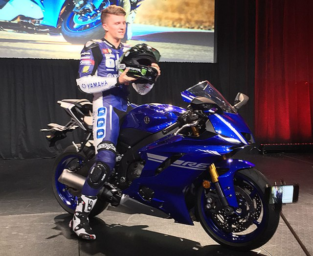 The global unveil of the 2017 Yamaha YZF-R6 took place at AIMExpo in Orlando, Florida, with the bike ridden on stage by factory racer Garrett Gerloff.