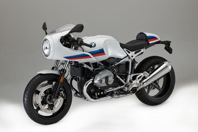 2017 BMW R nineT Pure in Lightwhite non-metallic paint with BMW Motorsports graphics, a blacked-out drivetrain and polished stainless exhaust.