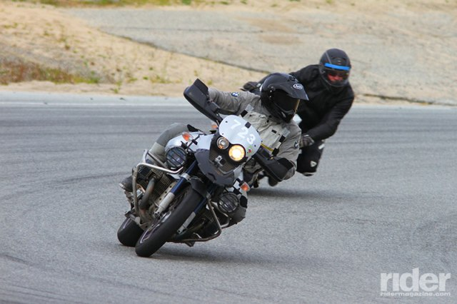 A BMW GS is surprisingly nimble. Notice how far the rider's head is turned—he's looking through the curve just as he's been taught. (Photo: etechphoto.com)