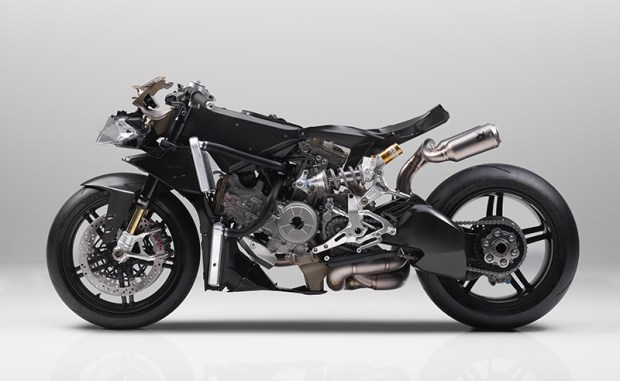 That's a lot of carbon fiber. The Superleggera has a carbon fiber frame, subframe, swingarm, wheels and bodywork.